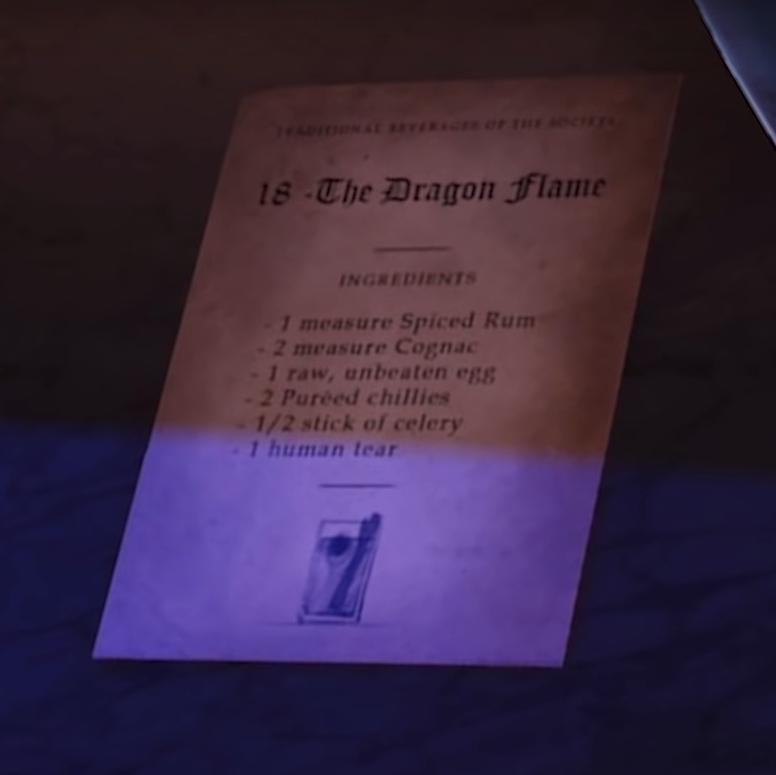 in-game screenshot showing the '18 The Dragon Flame' recipe