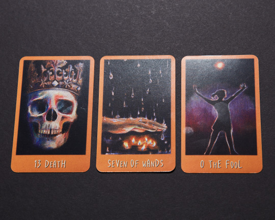 3 tarot cards: Death, 7 of Wands, The Fool